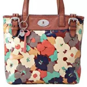 Fossil Key Per Coated Canvas Tote Bag Floral